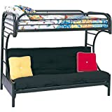 Eclipse Twin Over Full Futon Bunk Bed, Black with Full-Size Futon Mattress and Quilted Top Bunk Bed Mattress