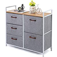 MaidMAX 5 Drawer Dresser, Closet Dresser Organizer with Wood Handles for Clothes, Bedroom, Nursery Room, Grey