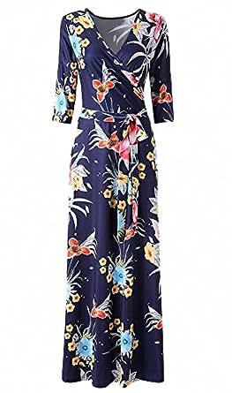 Afibi Womens Bohemian 3/4 Sleeve Faux Wrap Maxi Dress with Belt (X-Small, Design 1)
