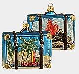Pinnacle Peak Trading Company Hawaii Travel Suitcase Polish Glass Christmas Ornament Waikiki ONE Decoration