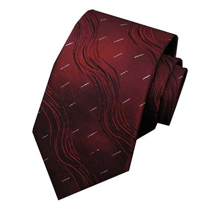 Y-WEIFENG Corbata de Seda para Hombres Patrón de ondulación roja ...