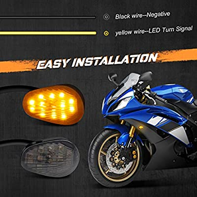 NTHREEAUTO Smoked Flush Mount LED Turn Signal Light Compatible with Yamaha YZF R1 R6 R6S, 12V Universal Motorcycle Indicators: Automotive