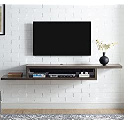 Martin Furniture IMAS370S Asymmetrical Floating Wall Mounted TV Console, 72inch, Skyline Walnut