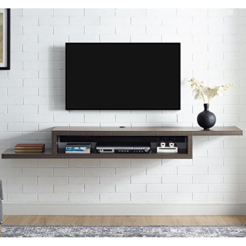 - Martin Furniture  Asymmetrical Floating Wall Mounted TV Console, 72inch, Skyline Walnut