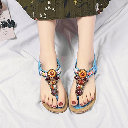 HUHU833 Women Summer Bohemia Ethnic Leather Flat Peep-Toe Casual Sandals Blue hJ357uVXei