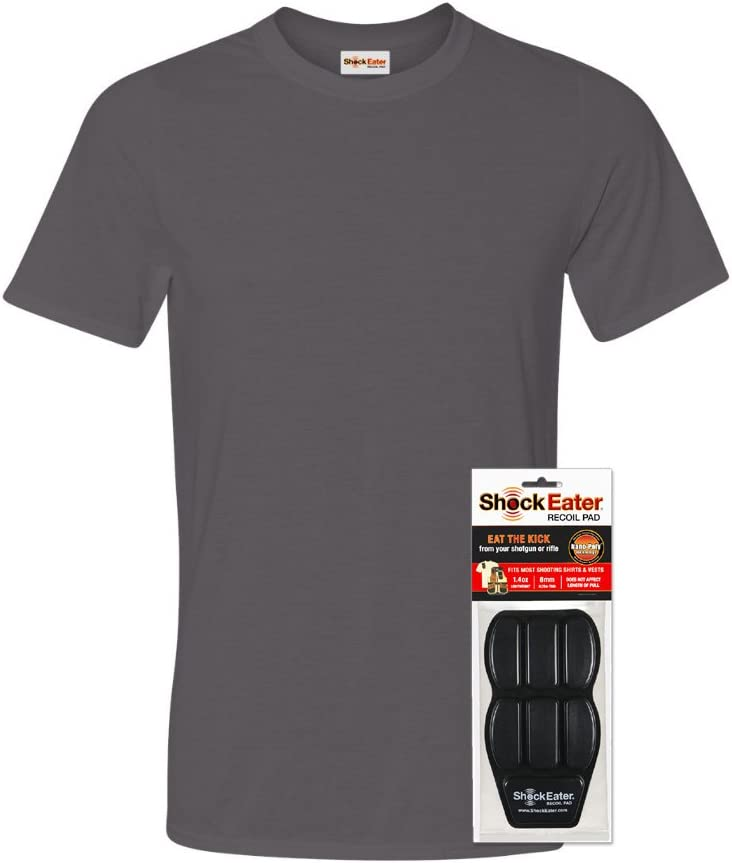 Amazon Com Shockeater Men S Recoil Shooting Shirt With Recoil Pad Charcoal Grey Sports Outdoors