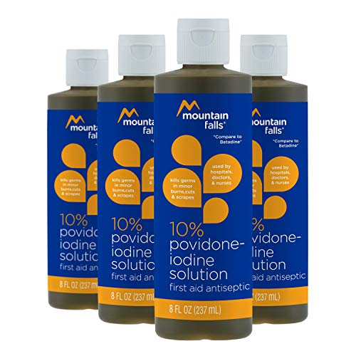 Mountain Falls 10% Povidone Iodine Solution First Aid Antiseptic, 8 Fluid Ounce (Pack of 4)