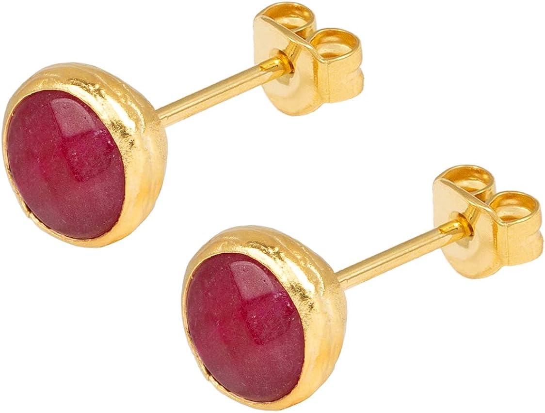 Pendientes de mujer Sarh Bosman de plata chapada en oro con piedras preciosas rojas engastadas - SAB-E26REDJADg