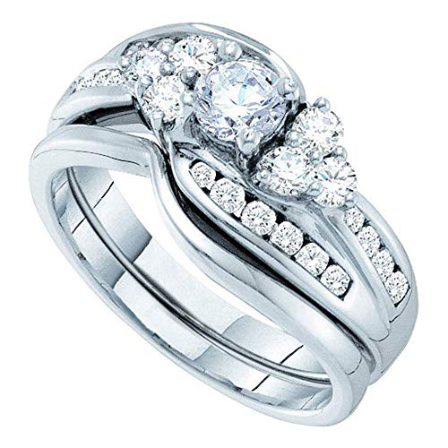 14kt White Gold Womens Round Diamond Bridal Wedding Engagement Ring Band Set 1.00 Cttw ()