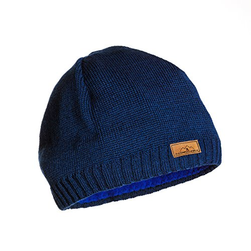 CacheAlaska Beanie Navy Blue Knit Hat - Premium Wool Blend - Designed