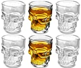 KOVOT Skull Shot Glasses, Set of 6, 1.5 oz, Clear