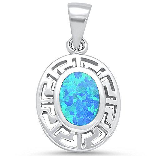 Oxford Diamond Co Sterling Silver Oval Lab Created Opal Greek Key Design Pendant Colors Available (Lab Created White Opal)