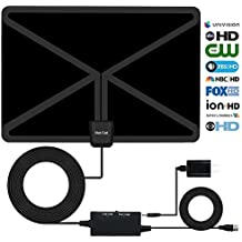 HDTV Antenna,65-95 Miles Long Range Indoor Digital HDTV Antenna with 2018 Newest Type Switch Console Amplifier Signal Booster,USB Power Supply and 17 Feet Highest Performance Coaxial Cable-Black