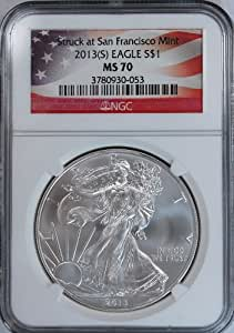 2013 S American Silver Eagle Dollar Coin NGC MS70 $1 Flag Label