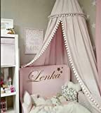 XuBa Cotton Baby Room Decoration Balls Mosquito Net Kids Bed Curtain Canopy Round Crib Netting Tent Photography Props 240cm Pink 50cm