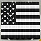 BINGO FLAG Funny Fabric Shower Curtain Black USA Flag Waterproof Bathroom Decor With Hooks 60 X 72 Inch