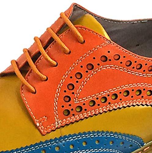 Inghilterra da Allacciatura Confortevole Intagliato 38 Wearable Scarpe Broch Casual orange Escursionismo Blue Uomo YCGCM UX58q