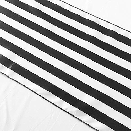 lovemyfabric Pack of 10 Satin 1 Inch Striped Table Runners For Wedding/Bridal Shower Birthdays/Baby Shower and Special Events (Black and White, 12