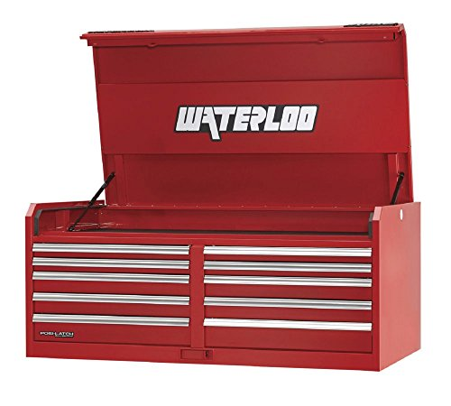(Waterloo PCH-561030RD Professional HD Series 10-Drawer Tool Chest with Posi-Latch Drawer Latching System, Red Finish, 56