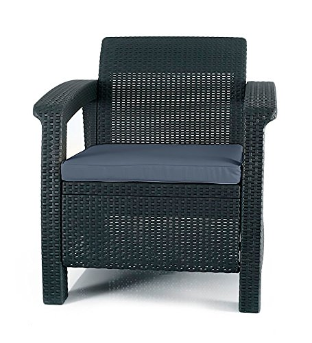 Keter Chair for Outdoor Seating with Washable Cushion-Perfect for Balcony, Deck, and Poolside Furniture Sets, 29.50 x 27.60 x 31.10 IN, Grey - Make sure this fits                by entering your model number. Dimensions: 29. 5 in. W x 27. 6 in. D x 31. 1 in. H Contemporary design and ergonomically comfortable patio armchair - patio-furniture, patio-chairs, patio - 514VwpP1UbL -