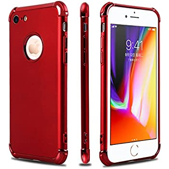 iPhone 7 Case,iPhone 8 Case,Casegory 3 in 1 Ultra Thin Slim Fit Reinforced Corner Soft Silicone TPU Shockproof Protective Bumper iPhone 7 8 Phone Case- Shiny Red