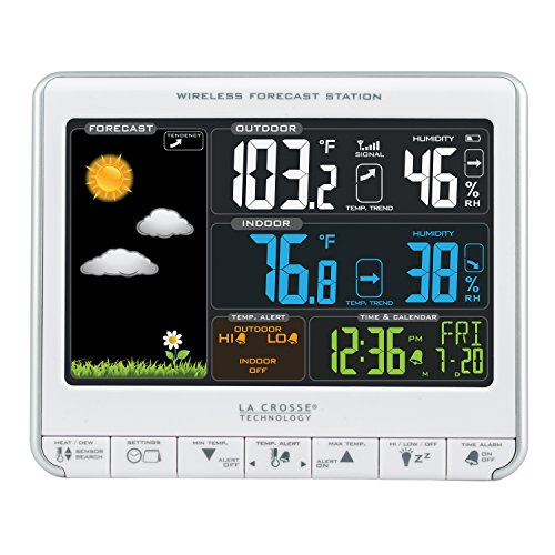 La Crosse Technology 308-1412S Color LCD Wireless Weather Station with USB Charging Port and Customizable Temperature Alerts ()