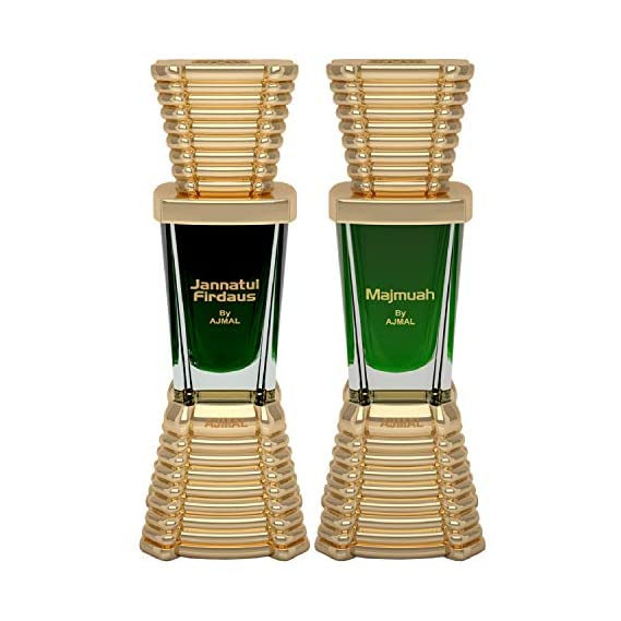 Ajmal Jannatul Firdaus Concentrated Perfume Oil Oriental Alcohol-free Attar 10ml for Unisex and Majmua Concentrated Perfume Oil Oriental Alcohol-free Attar 10ml for Unisex + 2 Parfum Testers FREE