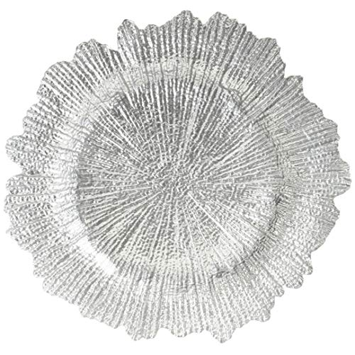 (Koyal Wholesale Bulk Flora Glass Charger Plates, Set of 4, Silver, Starburst Charger Plates, Reef Charger Plates)