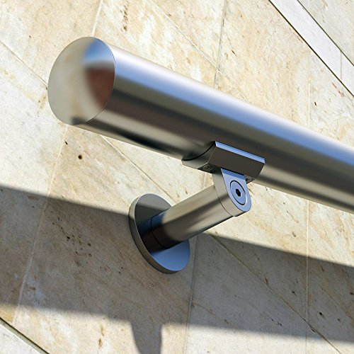 - B52 Anodized Handrail Aluminum Stairs Kit Stainless Steel Look 15 Ft and 1.97