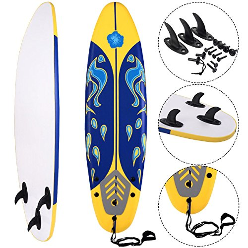 MD Group Beach Surf Surfboard Surfing Foamie 6' Durable Yellow EPE Deck & Slick HDPE Button by MD Group