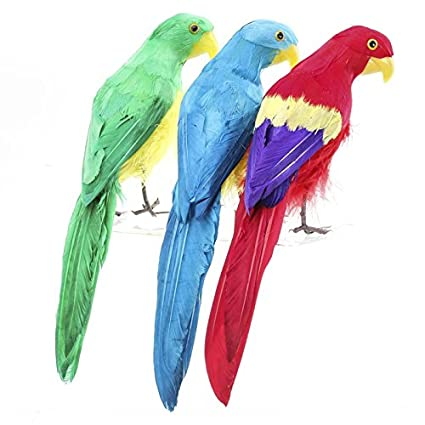 amazon com 12 artificial colorful feathered parrot bird one