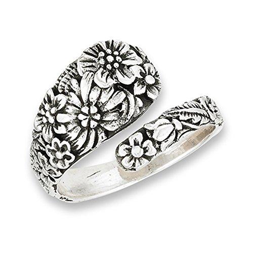 Adjustable Spoon Ring - Victorian Flower Open Adjustable Spoon Ring .925 Sterling Silver Band Size 6