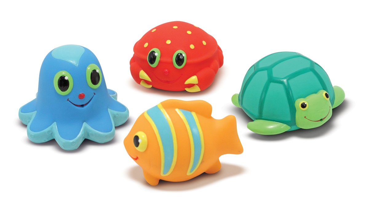 Melissa & Doug Sunny Patch Seaside Sidekicks Squirters With 4 Squeeze-and-Squirt Animals - Water Toys for Kids Melissa and Doug 16435