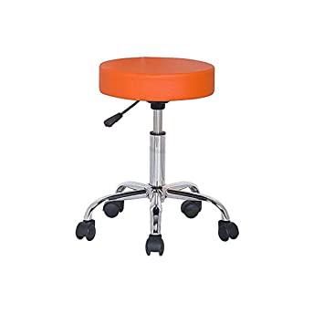 Height-Adjustable Swivel, revolving stool with wheels/ Clinic Stool / Hospital stool/ Bar stool/ Salon Chair/ Doctor stool/ Medical stool/ Spa Chair/ Restaurant chair / rotating stool (Orange) | 12 months warranty by DuraComf