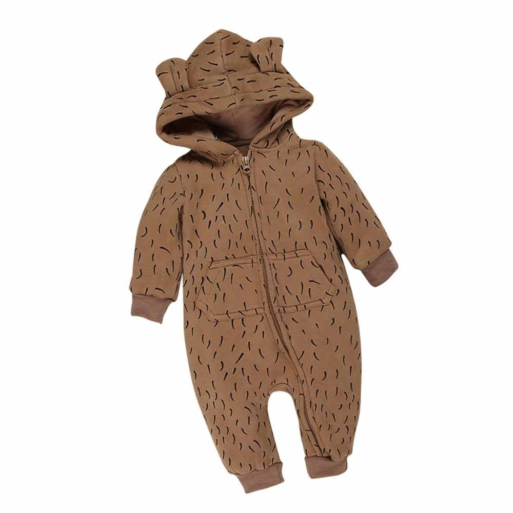 Baby Winter Warm Hooded Romper Outfits Suit