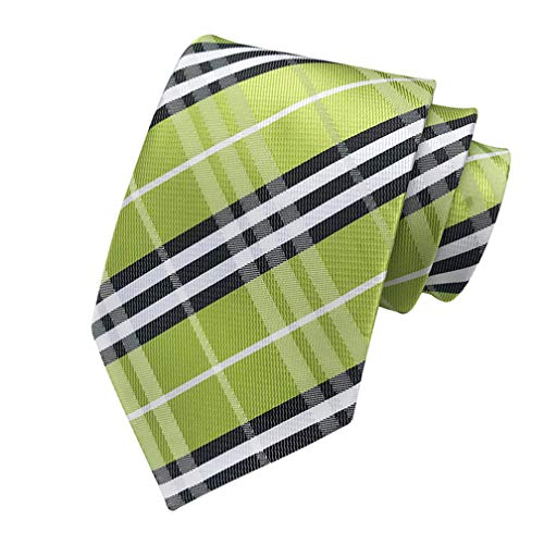 (MENDENG New Classic Striped Green Black Jacquard Woven Ties Silk Men Tie Necktie)