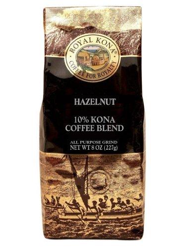 Royal Kona Coffee for Royalty HAZELNUT 10% KONA Coffee Blend, All Purpose Grind, 8 Oz. -