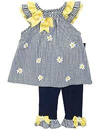 Little Girls Navy Gingham Daisy Legging Set