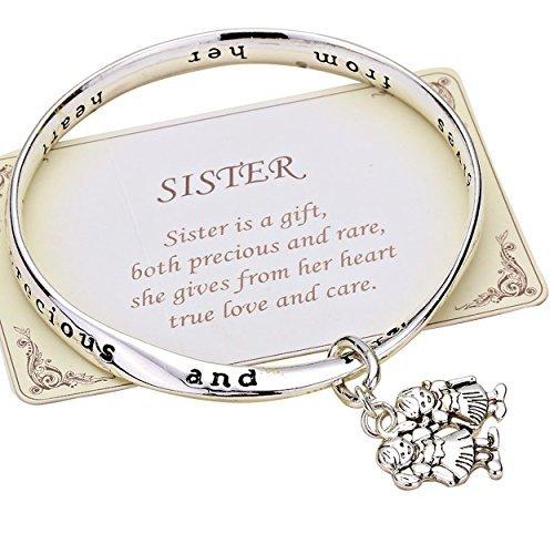 Charm Bracelet Poem Gift Box - Rosemarie Collections Womens Sister is a Gift Inscription Twist Bangle Bracelet