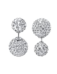 VOGEM Double Ball Earrings 18K White Gold Plated Cubic Zirconia Pierced Stud Earrings For Women