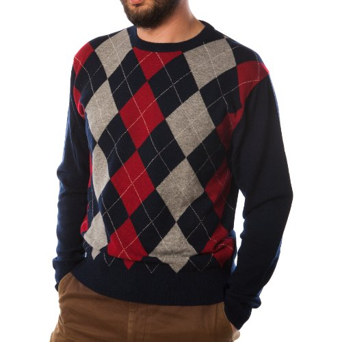 Dunedin 100% Cashmere Men's 12G Intarsia Argyle Crew Neck Sweater Dark Navy (XL) Cashmere Argyle Sweater