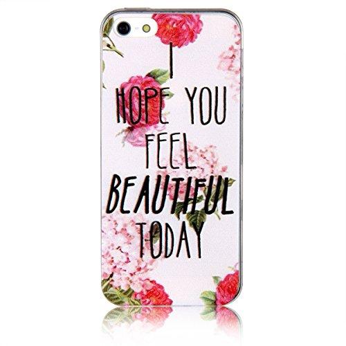 "JewelryWe ""I HOPE YOU FEEL BEAUTIFUL TODAY"" rote Rose Blumen Handy Case Schutzhülle Tasche Hülle Rückenschutzhülle Etui für Apple iPhone 5/5S"