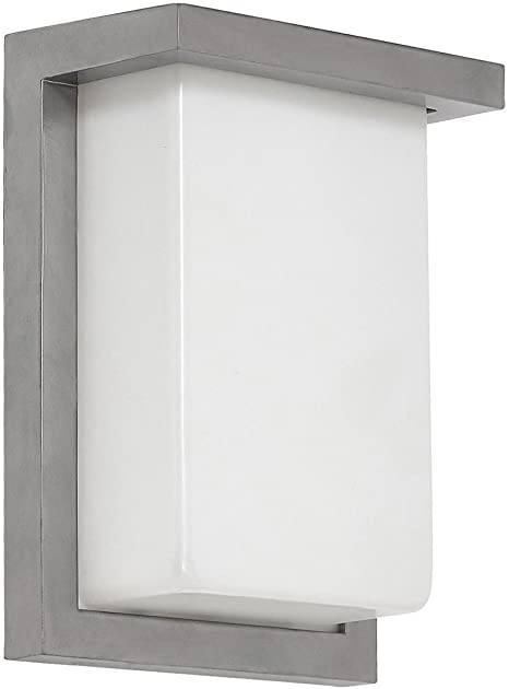 Amazon Com Hamilton Hills Flush Mount Modern Outdoor Wall Sconce Squared 8 Clean Line Exterior Light Brushed Nickel Finish With Frosted Lens 3000k Led Lighting With No Bulb Required Home Improvement
