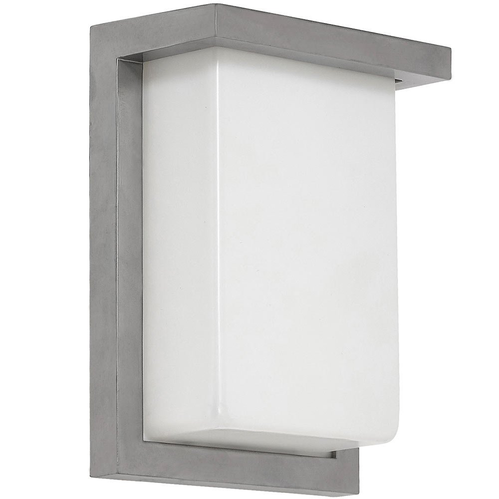 Flush mount modern outdoor wall sconce squared 8 clean line exterior light brushed nickel finish with frosted lens 3000k led lighting with no