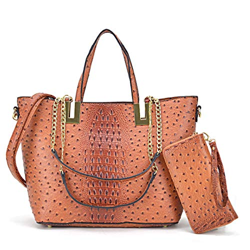 Women's Large Ostrich Tote Bag Fashion Top Handle Shoulder Bag Chain Strap Bag W/Matching Wallet (Ostrich-brown)