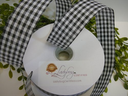 Gingham Check Ribbon Wired-Black/White,1 ½ Inch Spool, 50 Yd - More Colors/Patterns Available; Newest Trend for Premium Wreaths,Gorgeous Bows,Arts & Crafts Projects,Home Décor or Floral Arrangements - Oval Craft Wreath