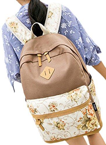 DATO Bolso Mochilas Escolares Estampado de Flores Mochila de Lona para Mujer Moda Juvenil Grand Capacidad Viaje Mochilas Tipo Casual Backpacks Khaki
