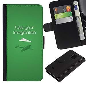 Samsung Galaxy S5 Mini / SM-G800 (Not For S5!!!) , la tarjeta de Crédito Slots PU Funda de cuero Monedero caso cubierta de piel ( Use Imagination Green Modern Design)