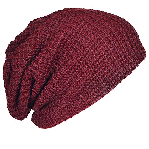 - FORBUSITE Mens Slouchy Long Oversized Beanie Knit Cap for Summer Winter B08 (Claret)