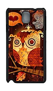 Black Hard Plastic Case Shell Skin,Cute Case Back Cover Case for Samsung Galaxy Note 3 N9000 Covered by Art Cute Owl